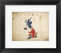 Framed Map with Flag Overlay United Kingdom