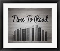 Framed Time To Read - Wood Background Black and White