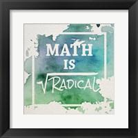 Framed Math Is Radical Watercolor Splash Green