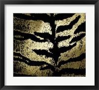 Framed Gold Foil Tiger Pattern on Black