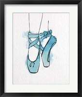 Framed Ballet Shoes En Pointe Blue Watercolor Part III