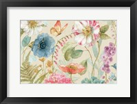 Framed Rainbow Seeds Flowers I Linen