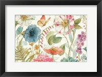 Framed Rainbow Seeds Flowers I on Wood Cream