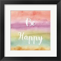 Framed Rainbow Seeds Painted Pattern XIV Happy