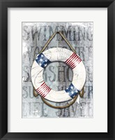 Framed Life Preserver Patriotic Nautical