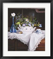 Framed Afternoon Tea con Bottiglia Blu