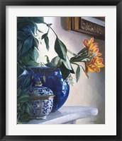 Framed Vaso Blu e Fiore Arancione