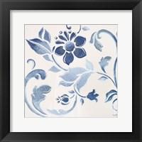 Framed Blue Floral Shimmer II