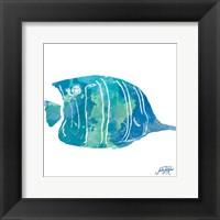 Framed Watercolor Fish in Teal III