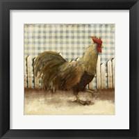 Framed Rooster on Damask I