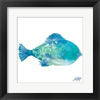 Framed Watercolor Fish in Teal II