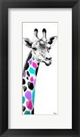 Framed Multicolored Giraffe I