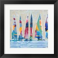 Framed Dozen Colorful Boats Square II