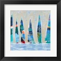 Framed Dozen Colorful Boats Square I