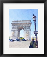 Framed Watercolor Streets of Paris I