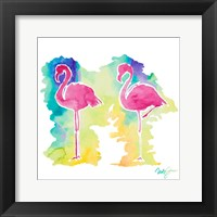 Framed Sunset Flamingo Square II