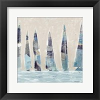 Framed Muted Sail Boats Square I