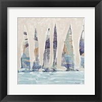 Framed Muted Sail Boats Square II