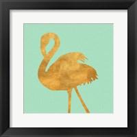 Framed Teal Gold Flamingo