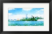 Framed Watercolor NYC Skyline I