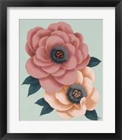 Framed Pink Flowers on Mint I