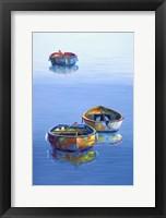 Framed 3 Boats Blue Vertical