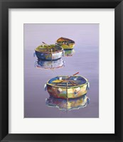 Framed 3 Boats Purple