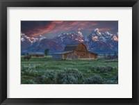 Framed Grand Teton Mormon Barn At Sunrise