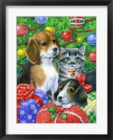 Framed Puppies and Kitten Under the Tree