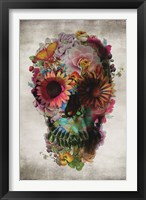 Framed Flower Skull
