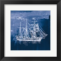 Framed Sailing Ships III Indigo