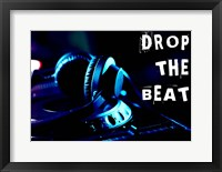 Framed Drop The Beat - Navy and Cyan