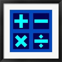 Framed Math Symbols Square - Blue