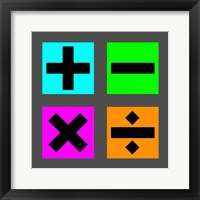 Framed Math Symbols Square - Colorful Boxes