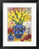 Framed Yellow Tulips In A Blue & Gold Pot