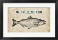 Framed Gone Fishing Salmon Black and White