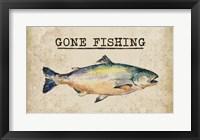 Framed Gone Fishing Salmon Color