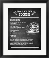 Framed Chocolate Chip Cookies Recipe Chalkboard Background