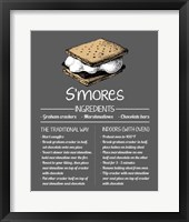 Framed S'mores Recipe Gray Background