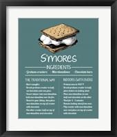 Framed S'mores Recipe Blue Background