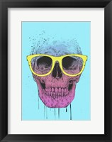Framed Pop Art Skull With Glasses