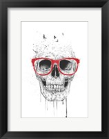 Framed Skull With Red Glasses