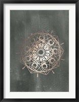 Framed Rose Gold Foil Mandala II on Black Wash