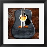 Framed Rustic Acoustic Guitar