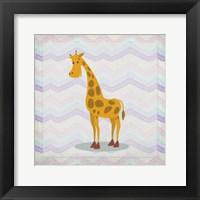 Framed Pink Giraffe Time