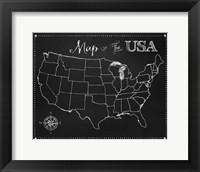 Framed Chalkboard US Map