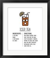 Framed Iced Tea Recipe White Background