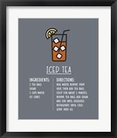 Framed Iced Tea Recipe Gray Background