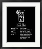Framed Iced Tea Recipe Black Background