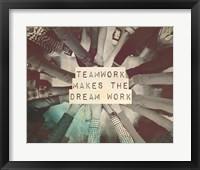 Framed Teamwork Makes The Dream Work Stacking Hands Black and White